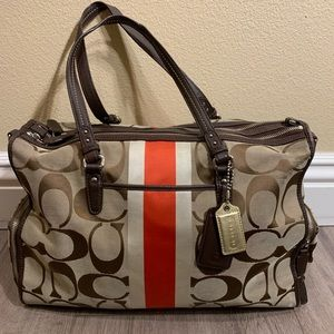 Coach Monogram Red Stripe Diaper Bag